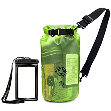 Earth Pak Dry Bag and Waterproof Phone Case - 10L/20L - Transparent So You Can See Your Gear - Keep Your Stuff Safe and Secure While Kayaking, Camping, Boating, Fishing, Hunting