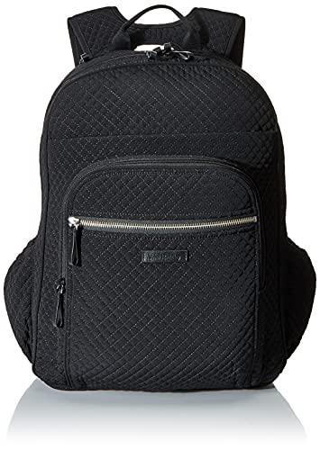 Vera Bradley Women's Microfiber Campus Backpack, Black Black, One Size