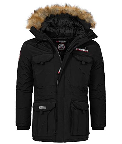 Geographical Norway - Herren Winterjacke mit Faux Fur Pelzkragen - Bottle - Schwarz - XXL