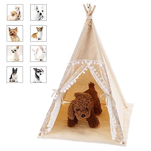 GOTOTOP Hundezelt Katzenzelt, Haustier Tipi Hunde Tipi Zelt Haustier Tipi Tragbare Haustierzelte Tipi Zelt mit Spitze für Haustiere, 60x60x70cm