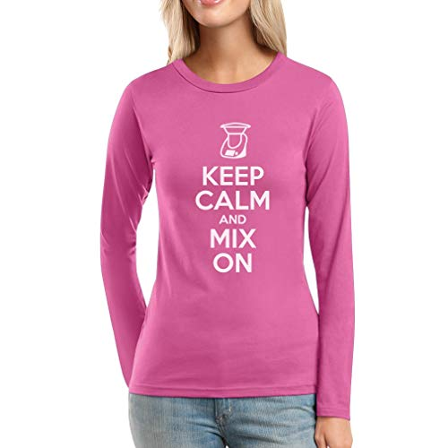 Keep Calm and Mix On - Motiv für Thermomix Liebhaber Frauen Langarm-T-Shirt XX-Large Rosa