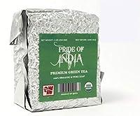 Pride Of India 有機インドの緑茶、100gm(3.5オンスカット/取捨選択)の葉