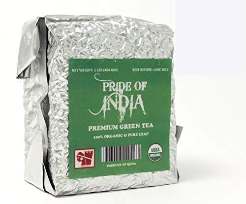 Pride Of India - Organic Indian Green Tea, Half Pound (8oz) Orthodox Full Leaf Tea