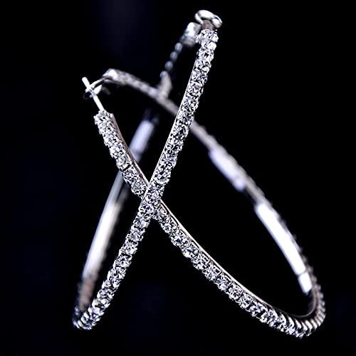 ShSnnwrl Aretes Pendientes Mujer de Plata Hombre Pendiente 30-100 mm Pendientes de Aros de Cristal Grandes Pendientes de Baloncesto Hiphop