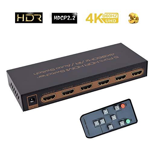 5 Port HDR HDMI Switcher umschaltpulte   HDMI Switch 5x1 (5 in 1 out) 4 K @ 60Hz UHD per TV, Blu-Ray, HDTV, PS3 PS4, Xbox 360 One, Wii U