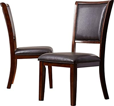 8dd2004ee153 Wood Dining Chair with Vinyl Upholstery - Dining Chair with Solid Back and  Tapered Square Legs