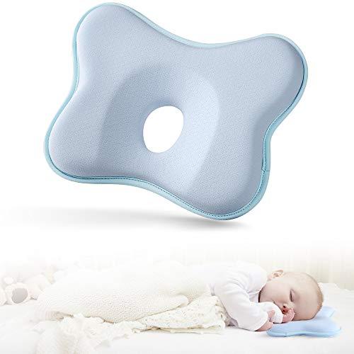 EASY EAGLE Baby Kissen, Schlafunterstützung Für Babykissen Gegen Plattkopf, Baby Kopfkissen Im Gedächtnisschaum - Blau