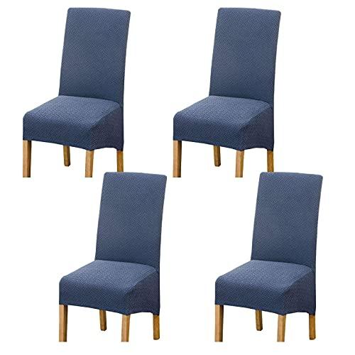JJYY Fundas para sillas de Cocina extraíbles de Elastano Suave para sillas de Comedor Fundas para sillas de Cocina Antideslizantes Modernas y Lavables para Restaurante-Navy-4 PCS