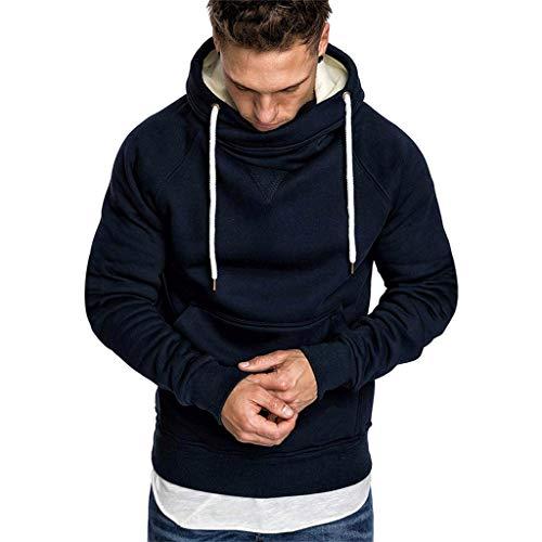 Xmiral Sweatshirt Hoodie Herren Einfarbig Knopf Kapuzenpullover mit Tasche Herbst Pullover Strickwaren Outwear mit Kapuze(c Marine Blau,XL)