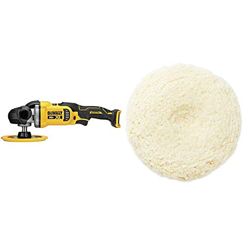 DEWALT 20V MAX XR Cordless Rotary Polisher, Variable Speed, 7-Inch, Tool Only with Wool Polishing Pad (DCM849B & DW4988)