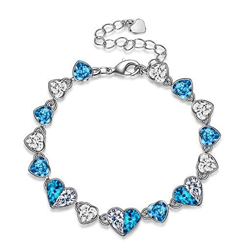 Kami Idea Pulsera - Corazón del océano - Pulsera para Mujer con Cristales de Swarovski, Caja de joyería, Amor puro por ella