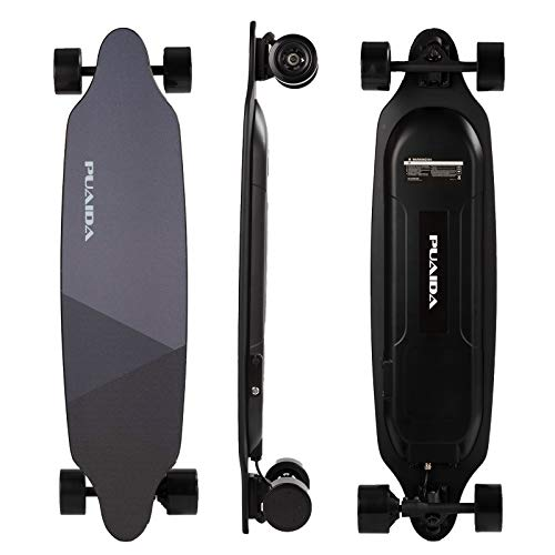 Puaida Electric Skateboard Longboard with remote18 Miles Range 20 MPH Top Speed 400W Swappable Brushless Motor Regenerative Braking Tail Light Intelligent Remote with Display(P6S)…