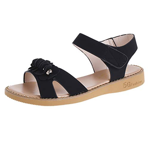 MIRRAY Women's Fashion Sandals Summer Single Buckle Fish Head Slides Soft Flat Flipflop Girls Street Sandals Black