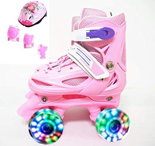Einstellbare Kinder Training Zweireihig Rollschuhe PVC Rad Triple Lock Mesh Atmungsaktive Rollschuhe Für Anfänger Kleinkinder Kinder Jungen Mädchen Inline Skates,Pink-XS-Set2