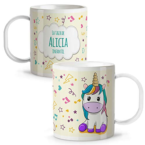 LolaPix Taza Unicornio Infantil niños y niñas Personalizada con Nombre. Vuelta al Cole. Plástico. Varios Diseños a Elegir