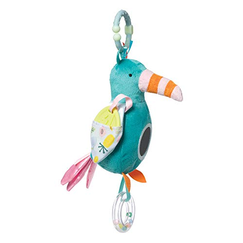 Manhattan Toy- Fantasy Bird Clip Travel Toy with Baby-Safe Mirror, Ring Rattle and Teether Jouet de Voyage, 218270, Multi