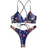ZAFUL Women's Back Lace-up Swimsuit Flower Print Cheeky Thong Bikini Deep Blue M