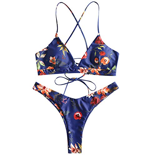 ZAFUL Women's Back Lace-up Swimsuit Flower Print Cheeky Thong Bikini Deep Blue S