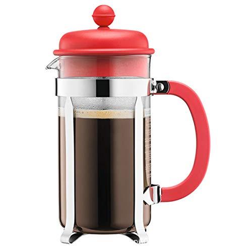 Cafetera De Émbolo Francesa, Olla De Café De Vidrio De 1000 Ml Mini Olla De Prensa De Filtro Cafetera Casera Fácil De Limpiar, Preparación Personalizable,Rojo