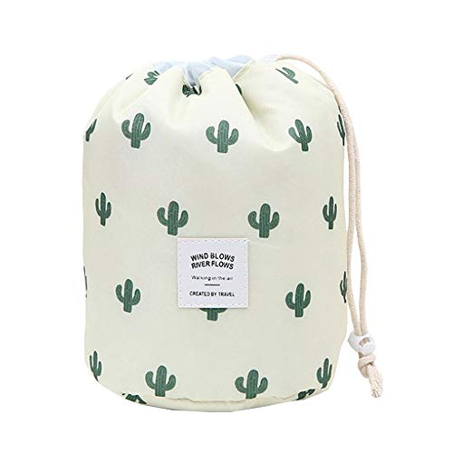 HOYOFO Drawstring Makeup Bags Travel Cosmetics Bag Brush Organizer Toiletry Kit Storage Pouch, Cactus