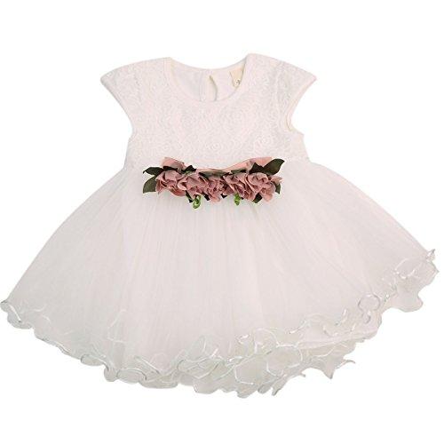 Chollius Abito da Battesimo Neonata Bambina 0-3 Anni Vestito da Principessa a Maniche Corte con Tulle Pizzo Vestito Elegante per Festa Cerimonia Compleanno (Bianco, 2-3 Anni)