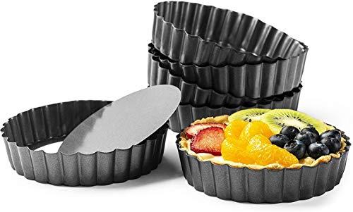 ZSWQ Plat a Tarte Lot de 6 Moule à Tartelettes Moule avec Fond Amovible en Acier Noire Couleur Revêtement Anti-adhésif Ø10 cm