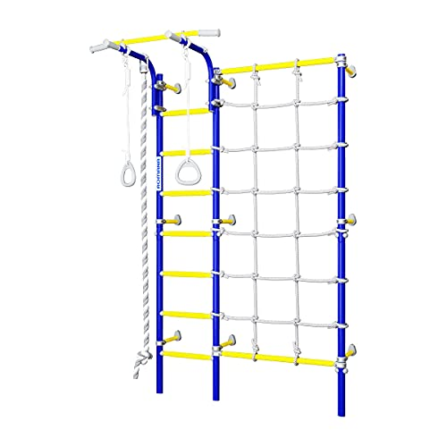 Sprossenwand Next 3, Spielplatz Schwedische Leiter, Klettergerüst, Klimmzugstange, blau-gelb