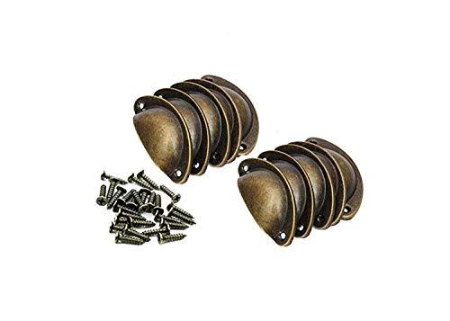 Lot de 10 poignées de meuble rétro vintage en forme de coquillage avec laiton 8 x 3 x 2 cm (bronze jaune)