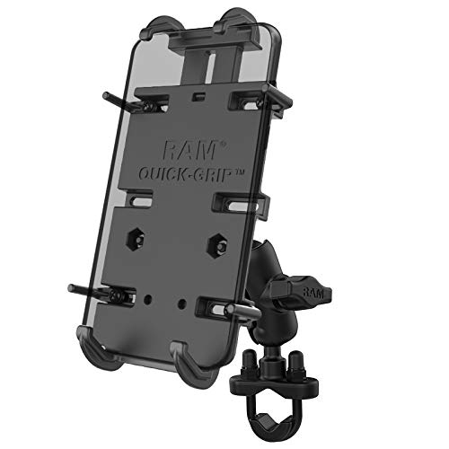 RAM Mounts Quick-Grip XL Phone Mount with Handlebar U-Bolt Base RAM-B-149Z-A-PD4U with Short Arm for Motorcycle, ATV/UTV, Bike