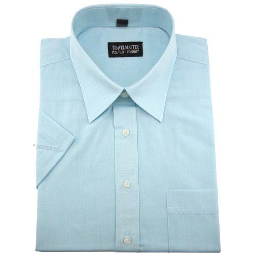 Travelmaster Herren Business & Freizeit Kurzarm Hemd mit Brusttasche - Farbe türkis - Hemd Gr.41/42 L