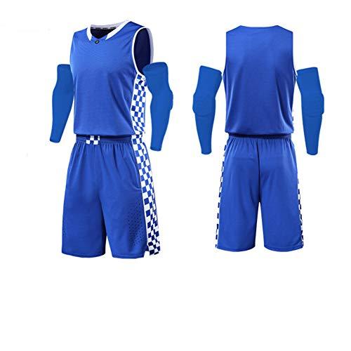 LIUGJ Basketballuniform, Basketballuniform Anzug benutzerdefinierte männlichen Studenten Wettbewerb Team Uniform Kentucky Trikot weiblichen Sport Training atmungsaktiv Druck-Blue-L