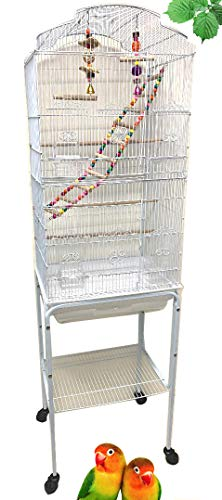 63-Inch Large Flight Bird Cage for Cockatiel Quaker Parrot Sun Parakeet Green Cheek Conures Finch Budgie Lovebird Parrotlet Canary Finch Pet Bird Cage with Stand (White with Toy)