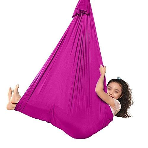 LHHL Akrobatik Tuch Kinder Hängematte Baby Therapeutische Schaukel Aerial Yogatuch Ideal Für Kinder/Erwachsene, Autismus, ADHS, Aspergers (Color : Rose red, Size : 150×280CM/59×110in)