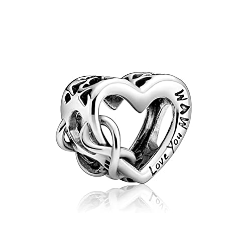 Pandora 925 Silver Love You Mom Charm Pan Charms Pulsera Mujeres Infinite Love Mum Heart Beads Para La Fabricación De Joyas Kid Mo R Day Exquisite Gift