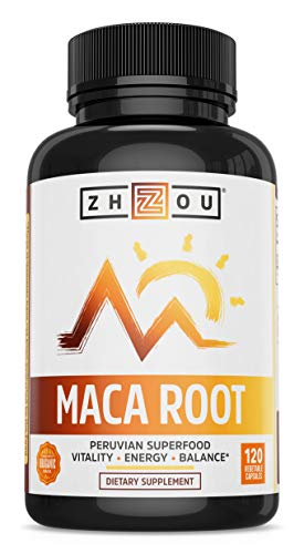 Zhou Nutrition Maca Root Capsules with Black maca, Wellness Supplement for Men & Women, Boosts Energy -120Count