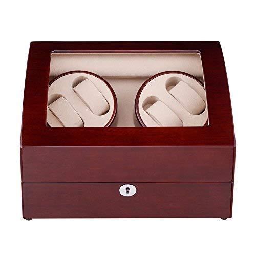 GUOOK GUOOK Luxusuhren Automatische Uhrenbeweger-Box mit 4 Wicklerpositionen 6 Aufbewahrungsplätze Holzschale 4 Modi Klavierlack Schwarzglanz Aufbewahrungskoffer aus Holz
