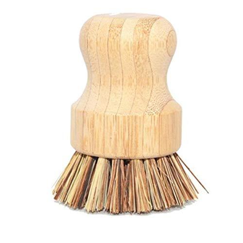 IUwnHceE Plato friega el Cepillo de bambú Cepillo de la Palma Ronda Cepillo de Limpieza para el Plato sartenes ollas Fregadero de Cocina Decoración Accesorios