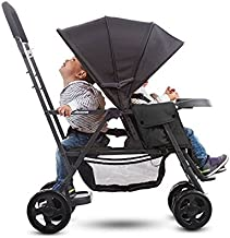 Premium Double Tandem Baby Strollers, Car Seat Adapter, Umbrella, Travel Systems Ready, for 2, with Infants, Toddlers and Kids, Black Color + 2 Free Strap-on Handy Hooks!