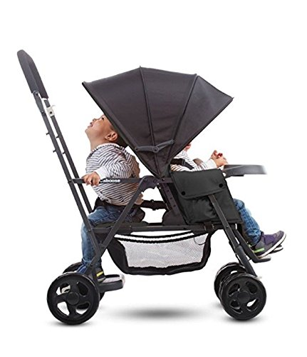 Best Tandem Baby Strollers, Adapter Included, Umbrella, Travel Systems Ready, for 2 Infants, Toddlers and Kids, Black Color. Front & Back Facing - with Free Awesome Hooks!