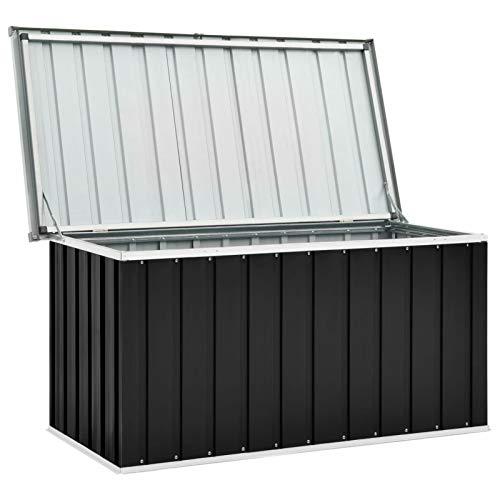 Festnight Gartenbox Wasserdicht Metall Auflagenbox Garten-Aufbewahrungsbox Große Kissen Werkzeugkasten Gartenbox Balkonschrank Gartentruhe Kissenbox Anthrazit 129 x 67 x 65 cm