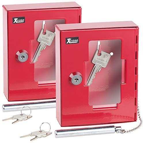 Xcase Notfall-Schlüsselbox: 2er Pack Profi-Notschlüssel-Kasten mit Einschlag-Klöppel &Sicherheits (Notfall-Schlüssel-Kästen)