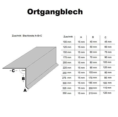 Ortgangblech 200 cm ( 2000mm) lang Edelsrahl K240 geschliffen 90 Grad Dachprofil Dichtungsblech Dachblech Kantblech (Z:125mm/A:15mm+B:50mm+C:60mm)