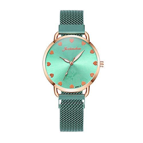 JZDH Relojes para Mujer Reloj de Pulsera de Mujer Rosa Oro Acero Inoxidable Hebilla magnética Reloj de Cuarzo Relojes Femeninos Regalos para Novia Relojes Decorativos Casuales para Niñas Damas