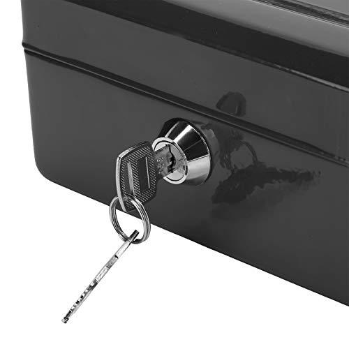 SHYEKYO Cajas con Cerradura de Seguridad, Aplicaciones amplias Caja de Efectivo de diseño liviano y portátil Material de Acero de Calidad Rendimiento Estable para la Oficina para Viajes(Black)