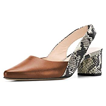 FSJ Women Retro Slingback Pointed Closed Toe Sandals Mid Block Heel Pumps Strappy Slip-on Comfotable Dress Work Shoes Size 12 Brown