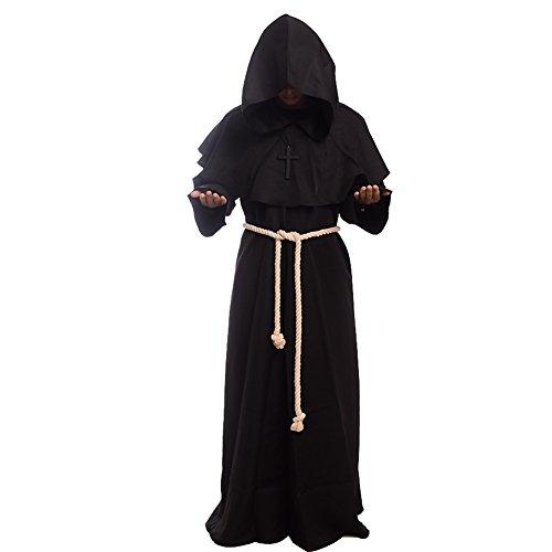 BLESSUME Priester Robe Mönch Mittelalterliche Kapuze Kapuzenmönch Renaissance Robe Kostüm (Schwarz) (L)