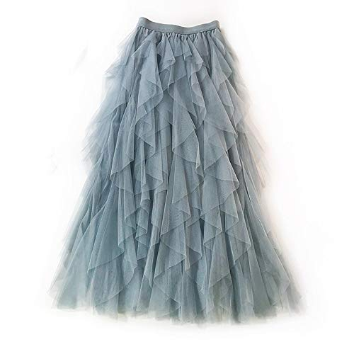 Gonna di Pizzo da Donna A-Line Layered Princess Lotus Leaf Stitching Layered Layered Tulle Midi Gonna Casual Fashion Maxi Skirt (Color : Blu)