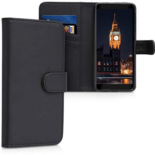 kwmobile Wallet Hülle kompatibel mit ZTE Blade V9 Vita - Hülle Kunstleder mit Kartenfächern Stand in Schwarz