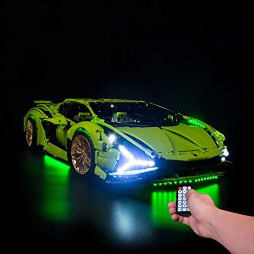 OATop LED Beleuchtungsset für Lego Lamborghini Sián FKP 37 42115,LED Licht Modernes Design mit Ton Kompatibel mit Lego 42115