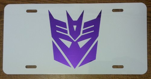 Transformers Decepticon License Plate Gloss White with Chrome Purple logo